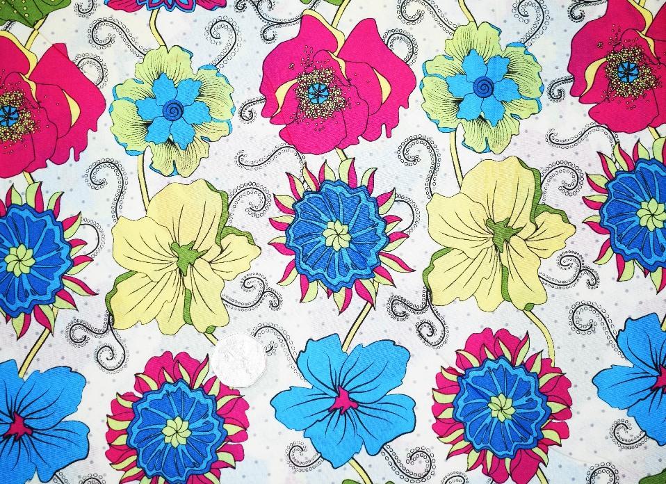 COTTON LAWN - FUNKY FLOWERS & 3 COLOURS