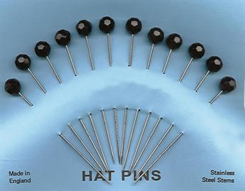 10mm Black Facetted Hat Pins