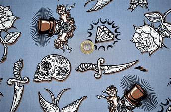 Skull Diamonds Cotton