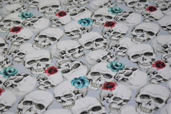 Little Johnny - Water Colour Skull Roses Cotton