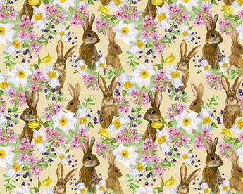 Little Johnny Digital Cottons Bunnies & Flowers