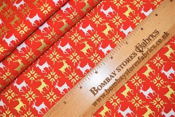 Christmas Reindeer Metallic Pattern Cotton