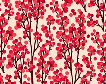 Little Johnny - Redcurrant Berries Digital Cotton