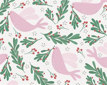 Little Johnny - Xmas Dove and Berries Digital Cotton