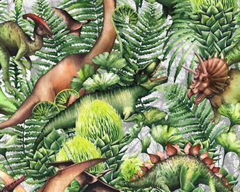 Little Johnny - Leafy Dinosaur Digital Cotton