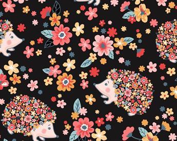 Little Johnny - Hedgehog Flowers Cotton