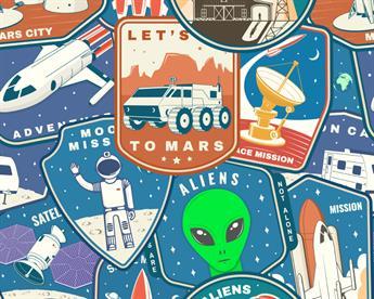 Little Johnny - Space Alien Badges Cotton