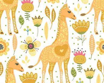 Little Johnny - Floral Giraffe Cotton
