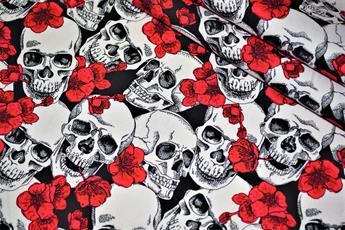 Skull & Red Flowers Print